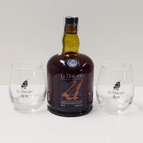 RHUM ELDORADO 21Y cl.70 con Bicchieri