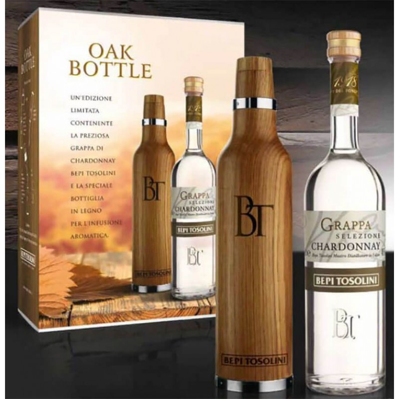 GRAPPA BEPI TOSOLINI CHARDONNAY OAK BOTTLE CL.50 WITH CASE