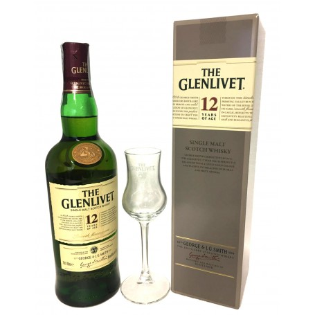 WHISKEY THE GLENLIVET 12 YO CL.70 WITH CASE AND GLASS