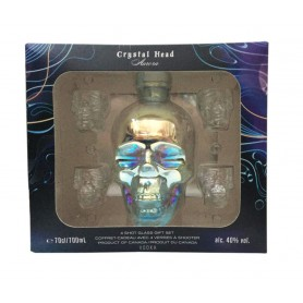 VODKA CRYSTAL HEAD AURORA CL.70 CASE WITH 4 GLASSES