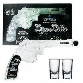 TEQUILA HIJOS DE VILLA BLANCO GUN CL.20 CASE WITH TWO GLASSES