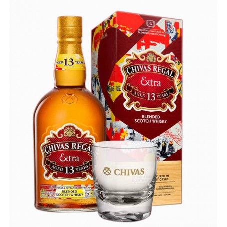 WHISKEY CHIVAS REGAL EXTRA 13 YO CL.70 WITH CASE + 2 TUMBLER GLASSES FOR FREE