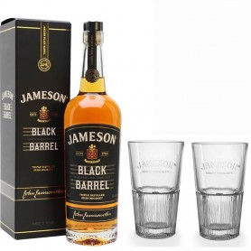 WHISKEY JAMESON BLACK BARREL CL.70 WITH CASE AND WITH TWO FREE HIGHBALL GLASSES