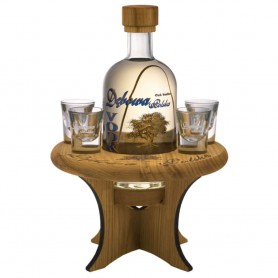 VODKA DEBOWA CL.70 WITH WOODEN TABLE + 4 GLASSES