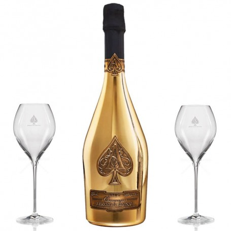 CHAMPAGNE ARMAND DE BRIGNAC BRUT GOLD CL.75 WITH 2 FREE FLUTES GLASSES