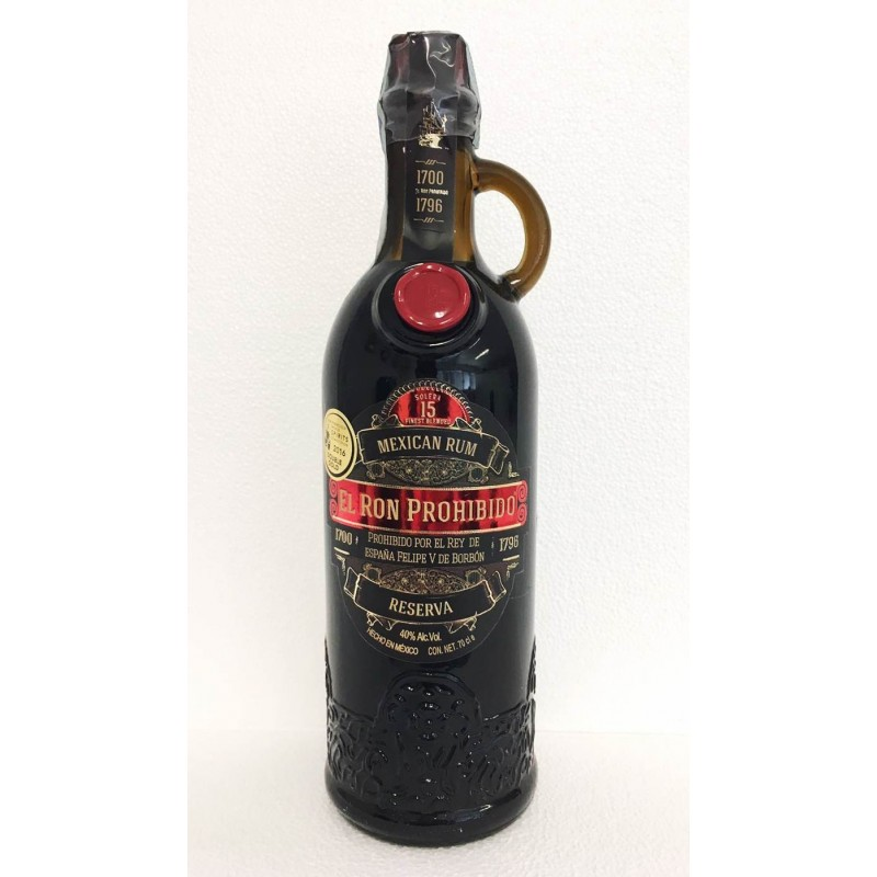 RHUM EL RON PROHIBIDO 15 YO OLD SOLERA FINEST BLENDED MEXICAN RESERVA CL.70